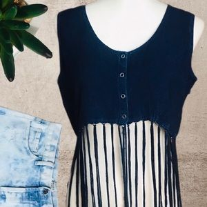 Earthbound Fringe Denim Crop Top NWT